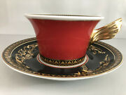 Versace Medusa Red Tea Cup And Saucer Celebrating 25 Years Rosenthal New