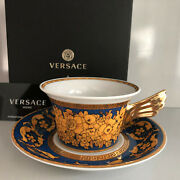 Versace Floralia Blue Tea Cup And Saucer Celebrating 25 Years Rosenthal New