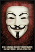 Anonymous - Framed Movie Poster People Should Not Be Afraid. Guy Fawkes Mask