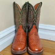 Lucchese 2000 Full Quill Ostrich Skin Leather Western Cowboy Boots Menand039s 8d