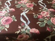 Antique Vtg. Lg. Cabbage Roses Floral Ribbon Polished Cotton Chintz Fabric Pink