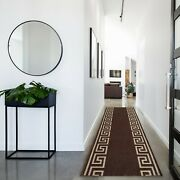 Custom Size Hallway Runner Greek Key Design Brown-creme 26and31by Your Length