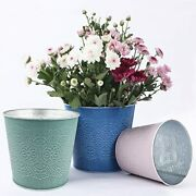 Flower Plant Pots Set Plant Planters Metal Containers Of 6 Pieces In 3 Sizes