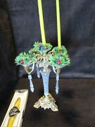 """Vintage Metal And Acrylic Petite Candelabra 12""""t And A Box 12 Tiny Nos Candles"""