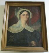 Antique 19th Century Painting Portrait Large Female Woman Model Signed 1830and039s