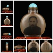 Chinese Glass Snuff Bottle With Copper Spoon Reverse Painted Inside Painting Art