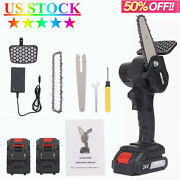 4 Inch Bar Lightweight Cordless Mini Chainsaw For Branch Cutting W/ 2 Batteries