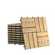 Gymax 40pcs 12and039and039 X 12and039and039 Acacia Wood Deck Tiles Interlocking Patio Pavers Check