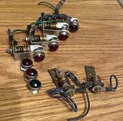 4 Vintage Instrument Panel Faceted Lights For Auto Boat Plane