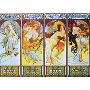 2000 Piece Puzzles For Adults Jigsaw Puzzles Mucha's Seasons Oil Painting For