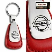 For Nissan Logo Tear Drop Authentic Red Leather Key Fob Keyring Keychain Lanyard