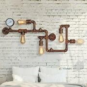 Industrial Vintage Farmhouse Wall Sconce Water Pipe Retro Light Living Room Home