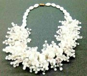 White Murano Pearl Necklace With Star-shaped Microbeads