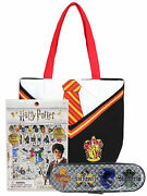 Harry Potter Gryffindor Uniform Tote Bag W/ Tin Pencil Case And Puffy Sticker Set