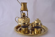 Maker Alcohol Burner Pot Copper 2 Cups Art Tray And Sugar Brass Turkish Coffee