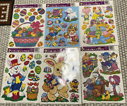 6 Sheets Of Window Easter Clings Decorations Lot Bunnies Eggs Baskets New Htf