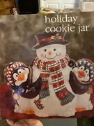 Christmas Hand Painted Snowman And Penquins Cookie Jar With Salt And Pepper Shakers