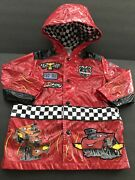 """Disney Store Childs2/3 Red Snapfront Hooded """"cars"""" Raincoat W/checkered Lining"""