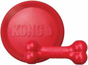 Kong - Goodie Bone And Flyer - Durable Rubber Chew Bone And Flying Disc