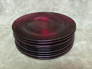 Vintage 1930and039s Cambridge Glass Tally Ho Pattern Carmen Red 7 Plate Lot Of 9 Pcs