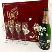 1988 Perrier Jouet Belle Epoque Gift Box Empty Bottle And 4 Champagne Glass Flutes