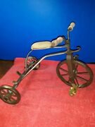 Antique Tricycle Metal Frame 7 Inch Tall Bike Doll Size Vintage