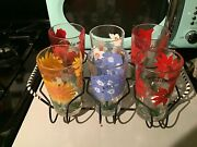 6 Vintage Mcm Flowers Boscul Peanut Butter Glasses 5 Tumblers And Caddy Excellent