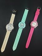 Lot Of 3 Silicone Analog Watches Pink Teal White Darice Accutime