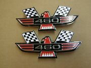 Ford 460 Crossed Flag Fender Emblems Red Mustang Fairlane Galaxie Falcon 1969 +