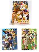 Digimon Adventure Memorial Book 3 Items Set 01and02andtri. Rare Limited Used Good