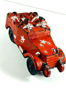 Vintage Red Rubber Sun Armed Army Radio Scout Tank Truck Toy Car