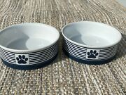 Bone Dry Paw Patch And Stripes Pet Dish Set Of 2