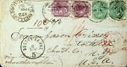 India 1867 8p X 2+4as X 2 Pmk '80' W/ Bengal Travelling Po No 2 On Cover To Usa