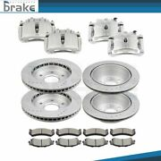 Front And Rear Brake Calipers And Rotors And Ceramic Pads For 01-05 Gmc Sierra 1500