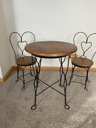 Vintage 3 Piece Childrenand039s Ice Cream Parlor Set Table 2 Chairs Oak Wrought Iron