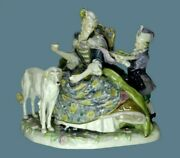 Antique Karl Ens Porcelain Figurine Lady With Dog And Servant Tray Blue Mark Rare