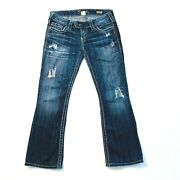 Silver Jeans Tuesday Bootcut Distressed Destroyed Contrast Stitch Womens 27xl31