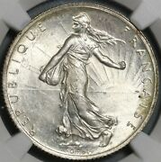 1915 Ngc Ms 64 France 2 Francs Sower Silver Mint State Wwi Paris Coin 21032104c