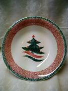Retired Gibson Christmas Star Pasta Serving Bowl 12 Green Red Christmas Tree