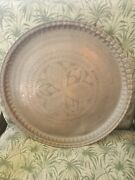 Large Antique Persian Hand Made Copper Isamic Tray Floral Engravings 50cm