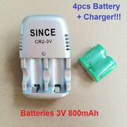 New 3v Cr2 Batteries + Charger Rechargeable Battery 800mah For Camera Toys