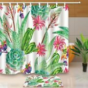 Succulents Bouquets Watercolor Prickly Blossoming Flowers Shower Curtain Set