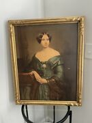 Antique Framed Lithograph Victorian Woman Dressed Posed Gilded Frame