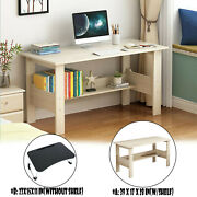 Computer Desk White Table Workstation Home Office Student Laptop Study W/shelf ☀