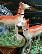 Colossal Rare Pair Staffordshire Porcelain Whippet Fox Hunt Hound Dogs Rabbits