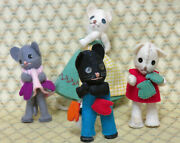 Vintage Baps 3 Little Kittens, Mittens And Mom Made In Germany- Felt And Cloth Dolls