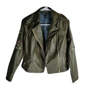 Inc Floral Faux Leather Jacket Womens Petites Size Ps Green Color