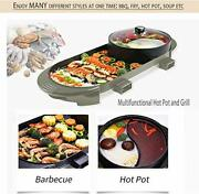2in1 Indoor Ourdoor Electric Barbecue Pan Grill And Hot Pot With Bbq Thermometer