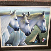Ferjo White Stallions Original Painting On Canvas, Signed.horses/equestrian