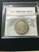 1890h Coin Mart Graded Canadian 25 Cent Ag-3